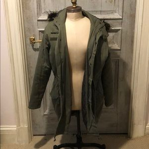 BDG oversized green canvas jacket with fur hood